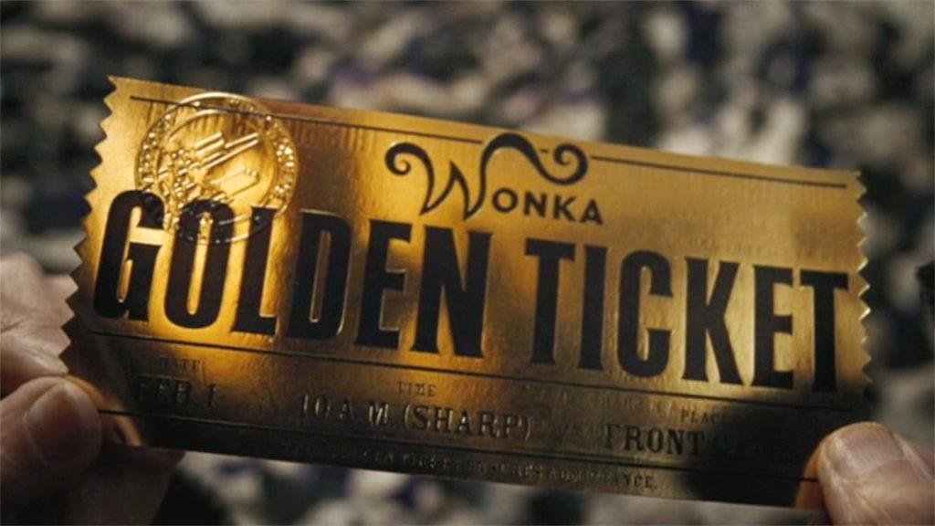 A screenshot of Willy Wonka's Golden Ticket.