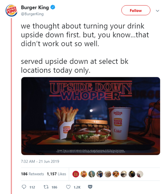 A tweet from Burger King to promote an exclusive menu as part of a promotional campaign for Stranger Things Season 3.