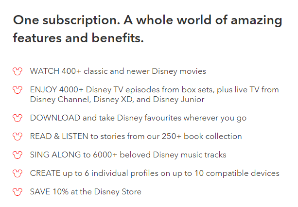 Disney_A list of the features included in a subscription to Disney Life