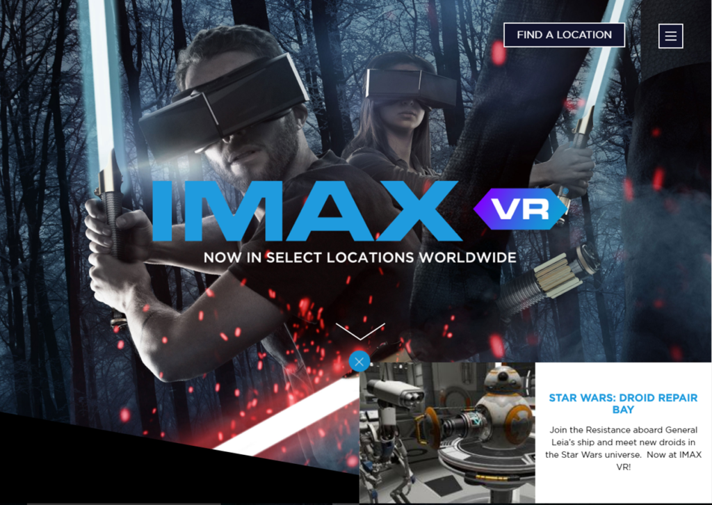 A screenshot of IMAX VR showcasing a Star Wars branded experience.