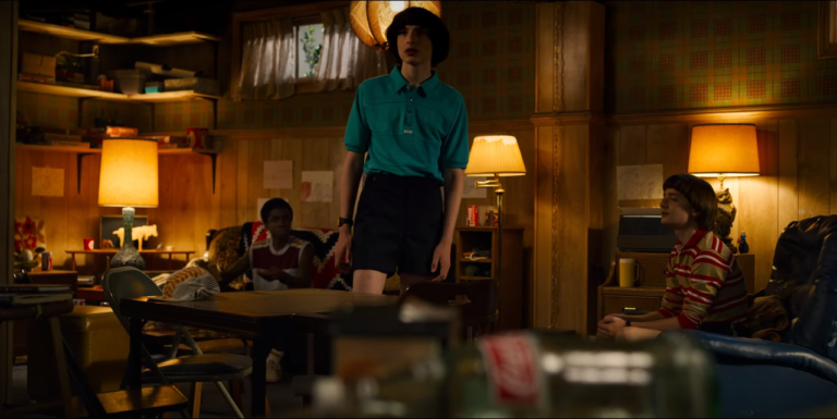 Stranger Things_Three boys are in a dim-lit room.