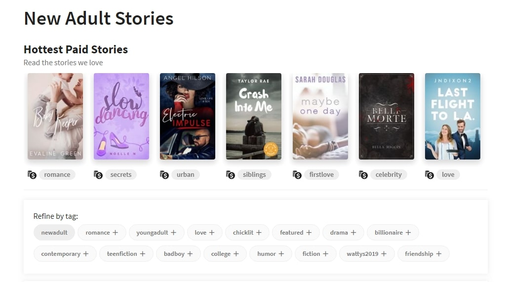A screenshot of Wattpad's website showing genres and tags