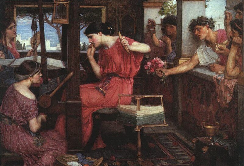 Painting by John W Waterhouse picturing Penelope threading her work
